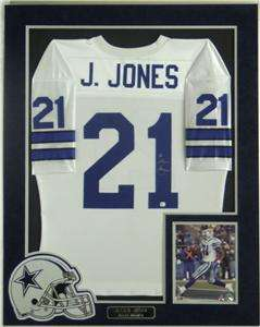 Julius Jones Autographed Dallas Cowboys Jersey   Matted   COA