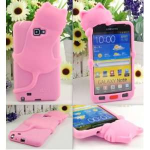 PINK Cute Lovely Kitten Cat Silicone Case Cover For Samsung Galaxy