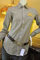 POLO RALPH LAUREN WOMENS GOLD CREST DRESS SHIRT BLOUSE TOP Sz 12 NWT