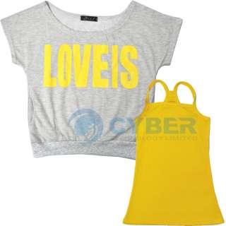 New Korea Short Sleeve Womens 2 Pcs Vest + T Shirt Set