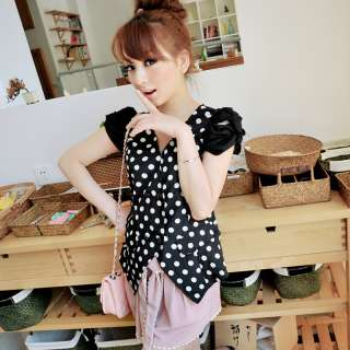 FASHION ON MOON FANCYQUBE V NECK POLKA DOTS CHIFFON TOP BLOUSE SHIRT
