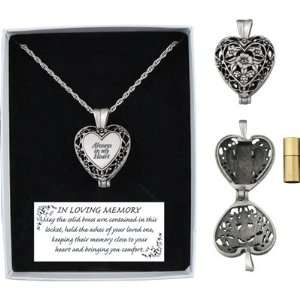 Memorial Heart Locket Necklace with Solid Brass Ash Vial