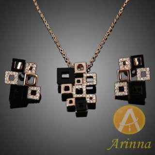 ARINNA retro square ear stud earrings necklace pendant set Swarovski