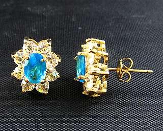 Elegant Lady Oval Cut Aquamarine 18K White GP Fashion Jewelry Earrings