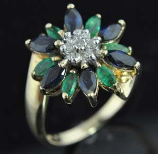 14K Gold Natural Emerald Sapphire Diamond Flower Ring