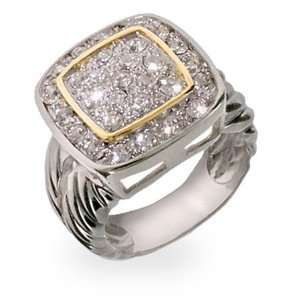 Designer Inspired Pretty Pave Silver Ring with Cable Band