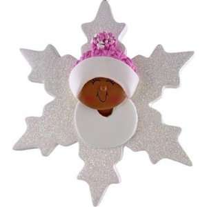 African American Baby Girl Snowflake Ornament: Home