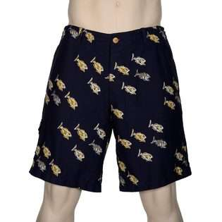 Burkman Bros Brothers Navy Blue Cotton Shorts 36 Fish Print Casual