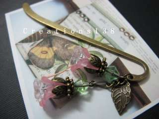 Pink Lucite Flower Glass Beaded Metal Bookmark Birthday Gifts