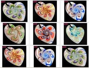 Heart Vortex Murano Art Glass Pendant Necklace p431 36