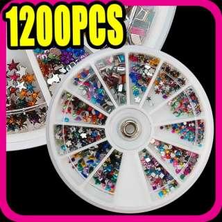 1200 pcs rhinestone nail art & 12 pcs shape S032
