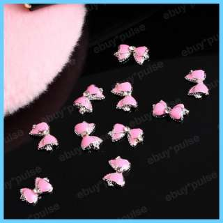 3D Pink Cute Bow Tie Crystal Alloy Nail Art Glitters DIY Decoration
