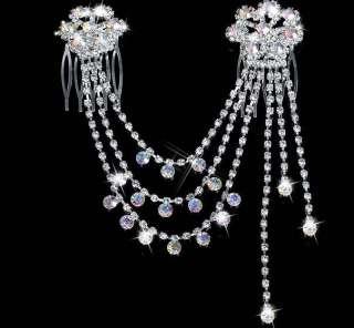 BRIDAL bridesmaid AB CRYSTAL RHINESTONE HAIR PINS COMB ZA728