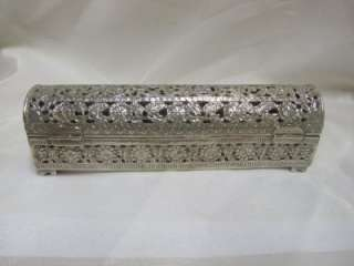 RARE ANTIQUE SOLID SILVER SCROLL BOX PIERCED PERSIA C 1890
