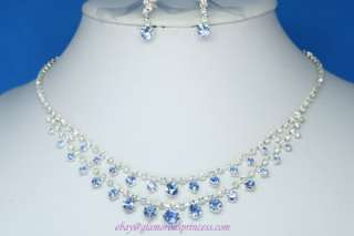 Blue Sapphire Crystal Bridal Wedding Set Necklace Earrings