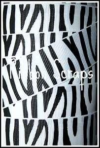 ZEBRA WHITE BLACK ANIMAL PRINT GROSGRAIN RIBBON