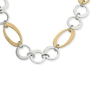 Stainless Steel Gold IP Plated Circles Link Necklace Chisel Jewelry