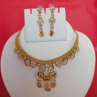 BOLLYWOOD DESIGNER GOLD PLATD CZ FASHION BRIDAL NECKLACE EARRING SET