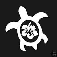 SEA TURTLE WITH HIBISCUS FLOWER WINDOW DECAL STICKER