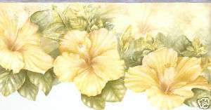 DIE CUT YELLOW GOLD HIBISCUS 9.99 Wallpaper bordeR Wall