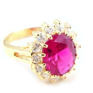 Gold plated ring Victorina ruby   .   Taille 60 Jewelry