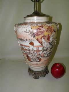 ANTIQUE JAPANESE SATSUMA VASE LAMP FIGURAL