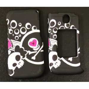 Black with Punk Rock Gothic White Skull and Pink Heart LG