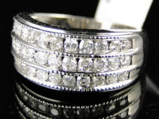 14K LADIES WHITE GOLD 3 ROW DIAMOND WEDDING BAND RING