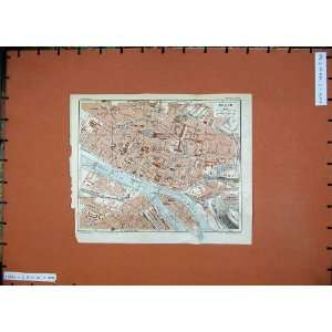 1926 Colour Map France Street Plan Rouen Seine Fleuve