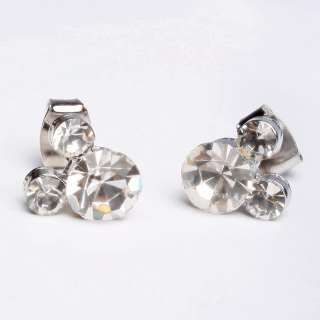 New Transparent Cubic Rhinestone earrings Walt Mickey Mouse Disney