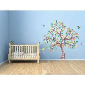 Kids Tree Vinyl Wall Decal with 9 Birds Coordinate Migi Little Tree
