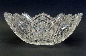 Large Oval Crystal Bowl Cut Glass Vase Stars