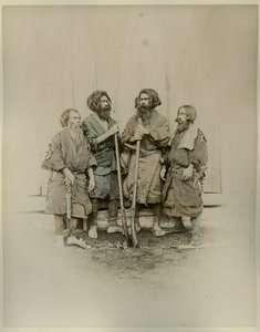 1870s PHOTO STILLFRIED JAPAN   FOUR AINU MEN