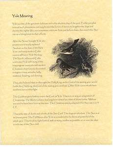 Book of Shadows page Wicca Wiccan Yule Meaning Pagan History