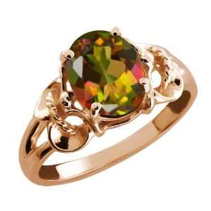 2.30 Ct Oval Mango Mystic Topaz 14k Rose Gold Ring