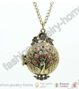 Fashion retro bronze crystal peacock Lockets necklace