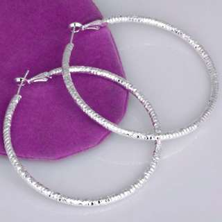 White Silver Large Round Circle Loop Hoop Earring Hot
