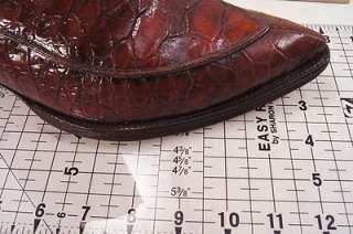 Vintage FULL Alligator Belly Patch Quilt Brown 10 D Mens Western Boots