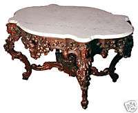 5657 Rare Rosewood Carved 57 Marble Top Center Table