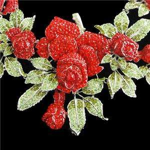 Huge Rose Necklace Earring Set Red Austrian Rhinestone Crystal Flower