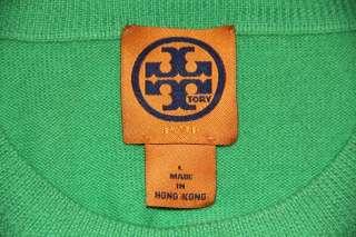 TORY BURCH Green Wool RHINESTONE REVA LOGO SWEATER Shirt top blouse L