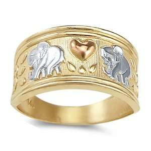 Elephant Love Heart Ring 14k Yellow Gold Band, Size 5
