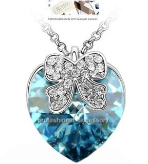 Swarovski Crystal Charm Heart Ribbon Pendant Necklace