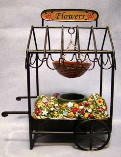 Hanging Tart Warmer Flower Cart Vendor Tea Light Home Interior Ceramic
