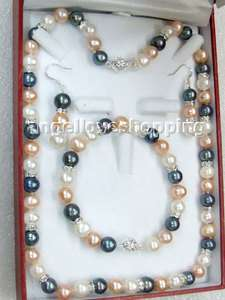 color freshwater pearl necklace bracelet earring ss925 stud set