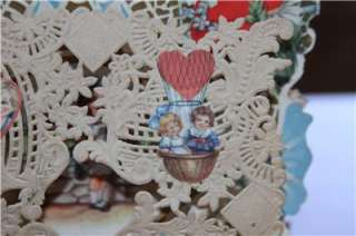 VINTAGE ANTIQUE 3D POP UP WHITNEY VALENTINE CARD CHILDREN FLOWERS