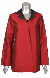 Sutton Studio Women Red Black 100% Silk Reversible Topper Jacket