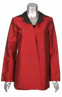 Sutton Studio Women Red Black 100% Silk Reversible Topper Jacket