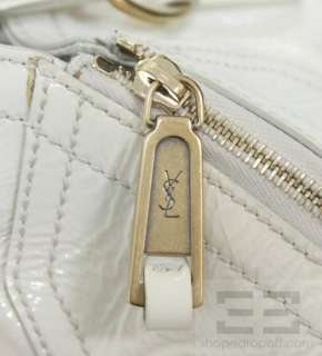 Yves Saint Laurent Ivory Patent Leather Medium YSL Downtown Tote