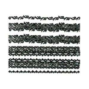 Iridescent Glitter Black Lace Strip Nail Stickers/Decals Beauty
